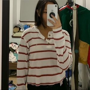 Me to We (pacsun) White and Red Long Sleeve